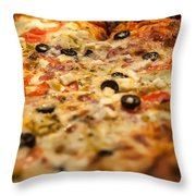 Supreme Meat Works Pizza  Sliced And Ready To Eat Throw Pillow