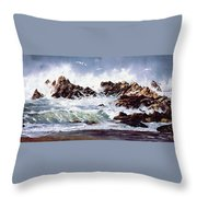Surf At Lincoln City Throw Pillow