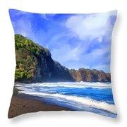 Surf At Pololu Valley Big Island Throw Pillow