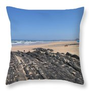 Surf Beach Portugal Throw Pillow