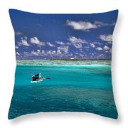 Surf Board Paddling In Moorea Throw Pillow