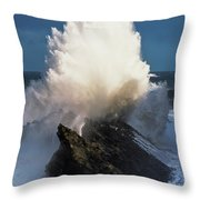 Surf Erupts On The Rocks At Shore Acres Throw Pillow