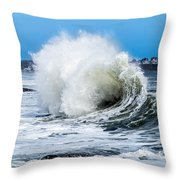 Surf Is Up At York Beach Throw Pillow