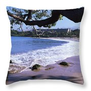 Surf On The Beach, Mauna Kea, Hawaii Throw Pillow