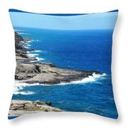 Surf On The Rocks Throw Pillow