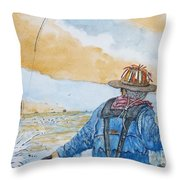 Surf Trout Fishing Throw Pillow