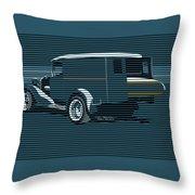 Surf Truck Ocean Blue Throw Pillow