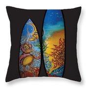 Surfboard Art Sun Moon Throw Pillow