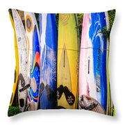 Surfboard Fence Maui Hawaii Throw Pillow by Edward Fielding