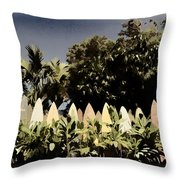 Surfboard Fence - Old Postcard Throw Pillow