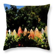 Surfboard Fence - Right Side Throw Pillow