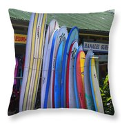 Surfboards At Hanalei Surf Throw Pillow