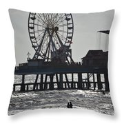 Surfer And Lovers At Pleasure Pier Throw Pillow