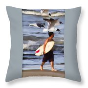 Surfer And The Birds Throw Pillow