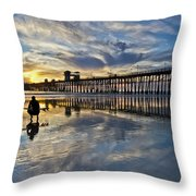 Surfer At Low Tide Throw Pillow by Julianne Bradford