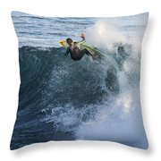 Surfer At Steamer Lane Throw Pillow by Bruce Frye