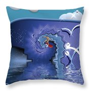 Surfer Boy - Ride The Waves Throw Pillow