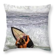 Surfer Catch The Wave Throw Pillow
