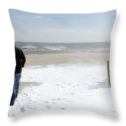 Surfer Checking Out Winter Swell In Belmar Nj Throw Pillow