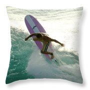 Surfer Cutting Back Throw Pillow