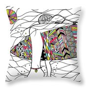 Surfer Girl Throw Pillow by Susan Claire