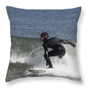 Surfer Hitting The Curl Throw Pillow