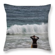 Surfer Checking The Waves Throw Pillow
