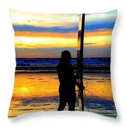 Surfer Sunset Throw Pillow