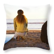 Surfer Woman And Dog On Beach Throw Pillow
