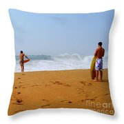 Surfers At Newport Beach Throw Pillow