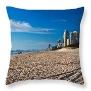 Surfers Beach Throw Pillow