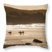 Surfers On Beach 02 Throw Pillow