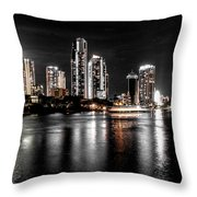 Surfers Paradise Night Reflections Throw Pillow