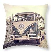 Surfer's Vintage Vw Samba Bus At The Beach Throw Pillow