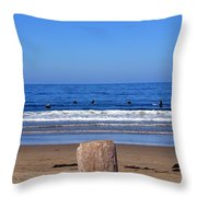 Surfers Waiting.... Throw Pillow