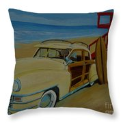 Surfers Woody Throw Pillow