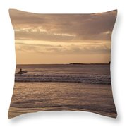 Surfing At Dusk Throw Pillow