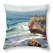 Surfing At Steamers Lane Santa Cruz Throw Pillow