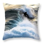 Surfing For Gold Throw Pillow