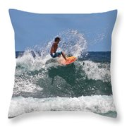 Surfing In Hawaii Throw Pillow