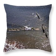 Surfing In Historys Shadow Throw Pillow