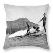 Surfing In Honolulu Throw Pillow