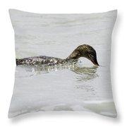 Surfing Merganser Throw Pillow