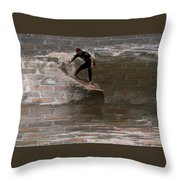 Surfing The Bricks Throw Pillow