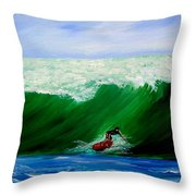 Surf's Up Surfing Wave Ocean Throw Pillow
