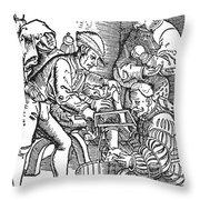 Surgeon Performing An Amputation. Woodcut From An Edition Of Hans Von Gersdoffs Feldtbuch Der Wundartzney, Strassburg, 1540 Throw Pillow