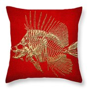Surgeonfish Skeleton In Gold On Red  Throw Pillow