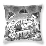 Surgeons Working On A Bomb In Operating Room Throw Pillow