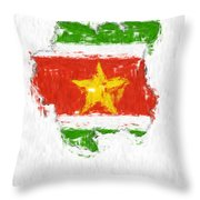 Suriname Painted Flag Map Throw Pillow