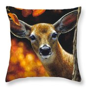 Whitetail Deer - Surprise Throw Pillow by Crista Forest